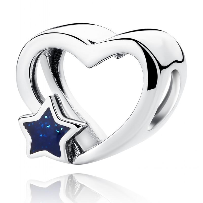 New Christmas Gifts 100% Real 925 Sterling Silver Charm Blue Enamel Star Openwork Heart Charm Beads Fits European Charm Bracelet DIY Jewelry