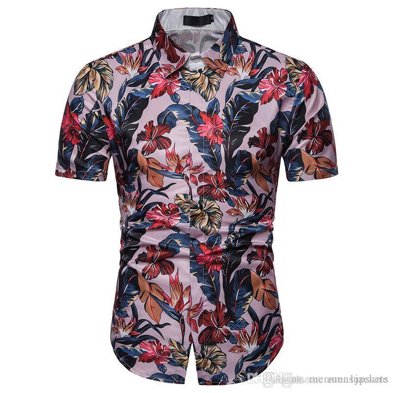 Playa para hombre Camisas florales Tamaño Hombres tops de las camisetas de verano de manga corta camisas sport de la UE