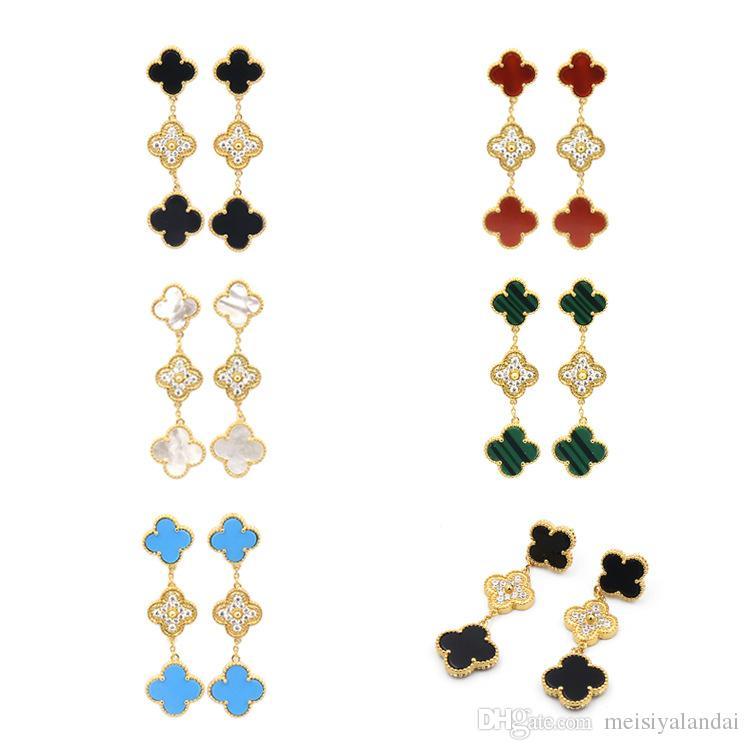 moda conchiglia naturale onice nero malachite V C Orecchini lunghi misura tre fiore diamante orecchini gioielli designer orecchini a cerchio da donna