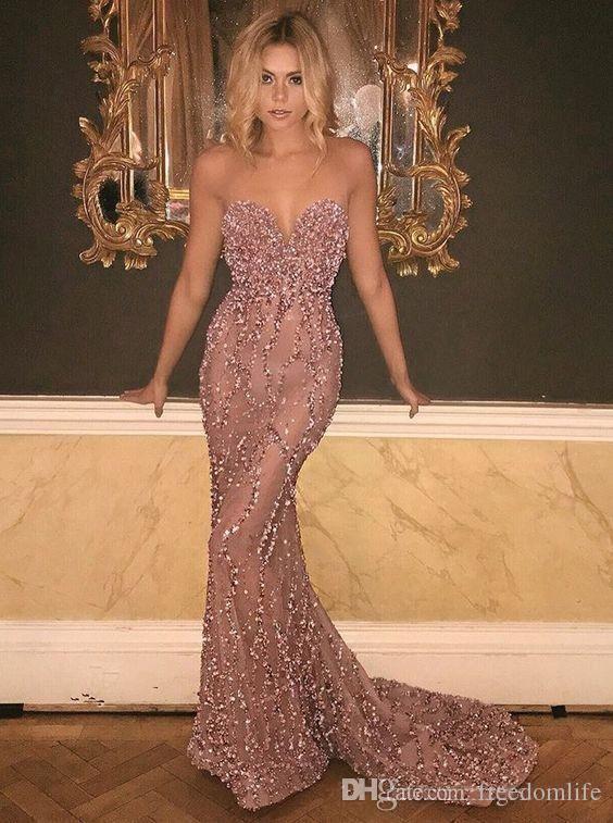 2019 New Designer Prom Dresses Sweetheart Floor Length Pleats dresses evening wear evening gowns Red Carpet Runway Dress