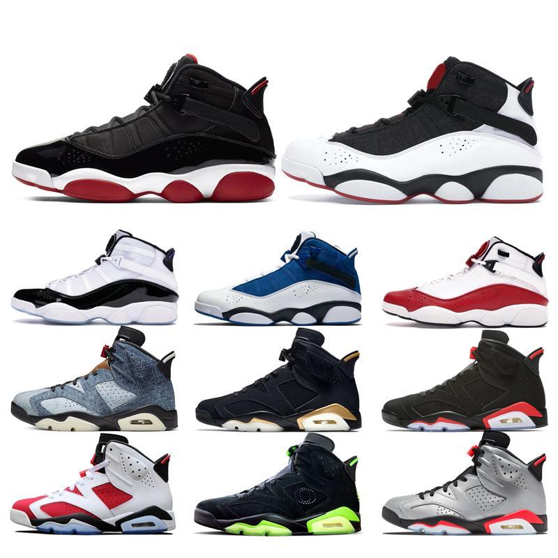 Concord Bred Halkalar 6 Denim Erkekler Basketbol Ayakkabı Siyah Kızılötesi Bred DMP PSG 3M Yansıtıcı Erkek Spor Sneakers Boyut 7-13 Yıkanmış 6S