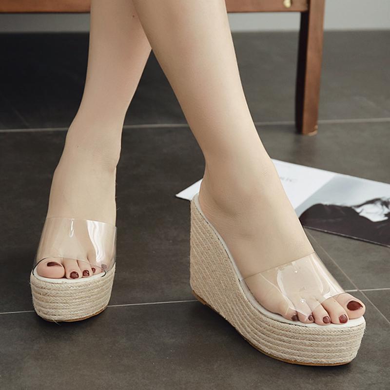 Летние удобные ботинки женщин удобные 8см клин на высоких каблуках тапочки высокого качества новой 4CM платформы обувь для дам