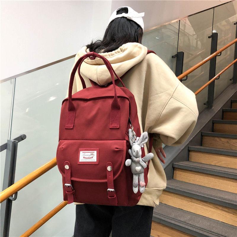 Sac à dos rose simple en nylon Femmes école Sacs pour les adolescentes ados Bagpack style preppy Campus Back Pack Femme 2020 Nouveau