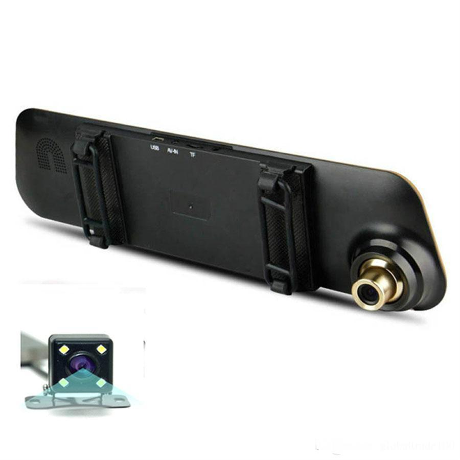 Newest Blue Review Mirror with Dual Camera Car DVR Digital Video Recorder Auto Registrator Camcorder Full HD 1080P Dvrs