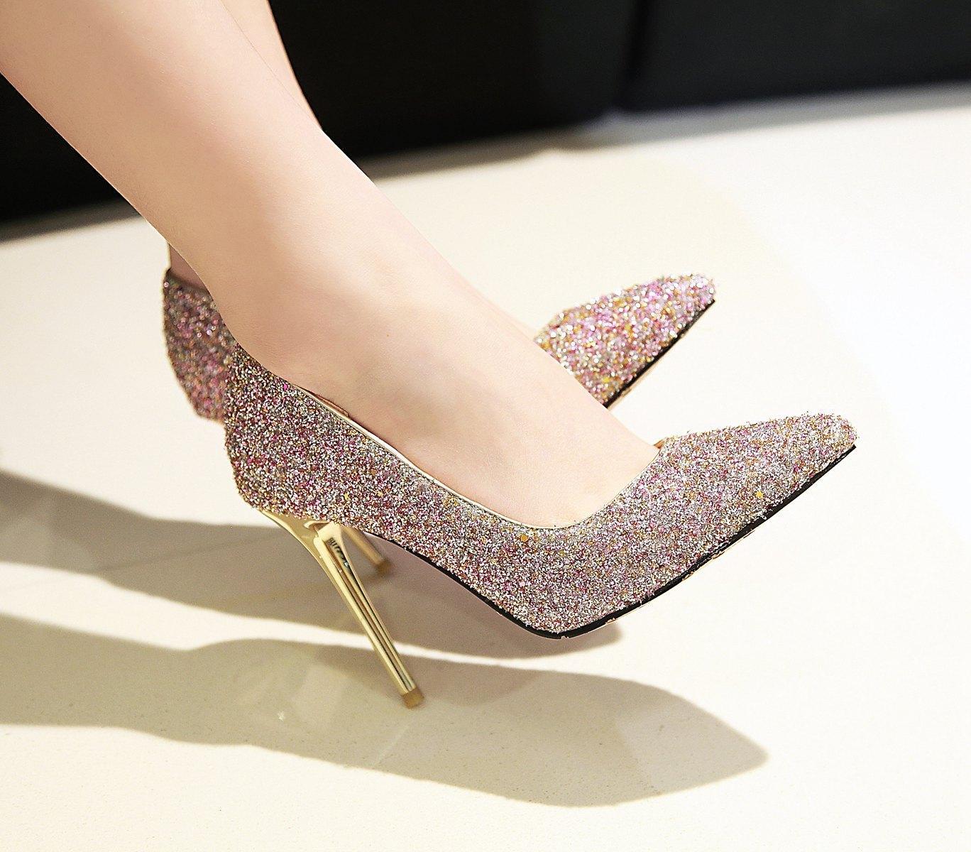 Sıcak Satış-Yeni Seksi Stiletto Topuk Sequins Kumaş Glitter Sivri Burun Kadınlar Kadınlar için 100mm Moda Yüksek Topuklu Ayakkabı Pompalar Ofis Elbise Ayakkabı