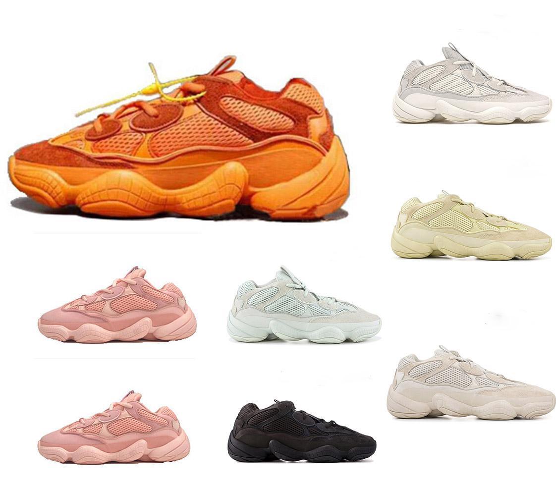 2020 Kanye West 500 Soft Vision Súper Lunas Amarillos Utilidad Negro Blush sal Piedras hueso blanca zapatillas de deporte de calidad Hombres Mujeres top de los zapatos corrientes