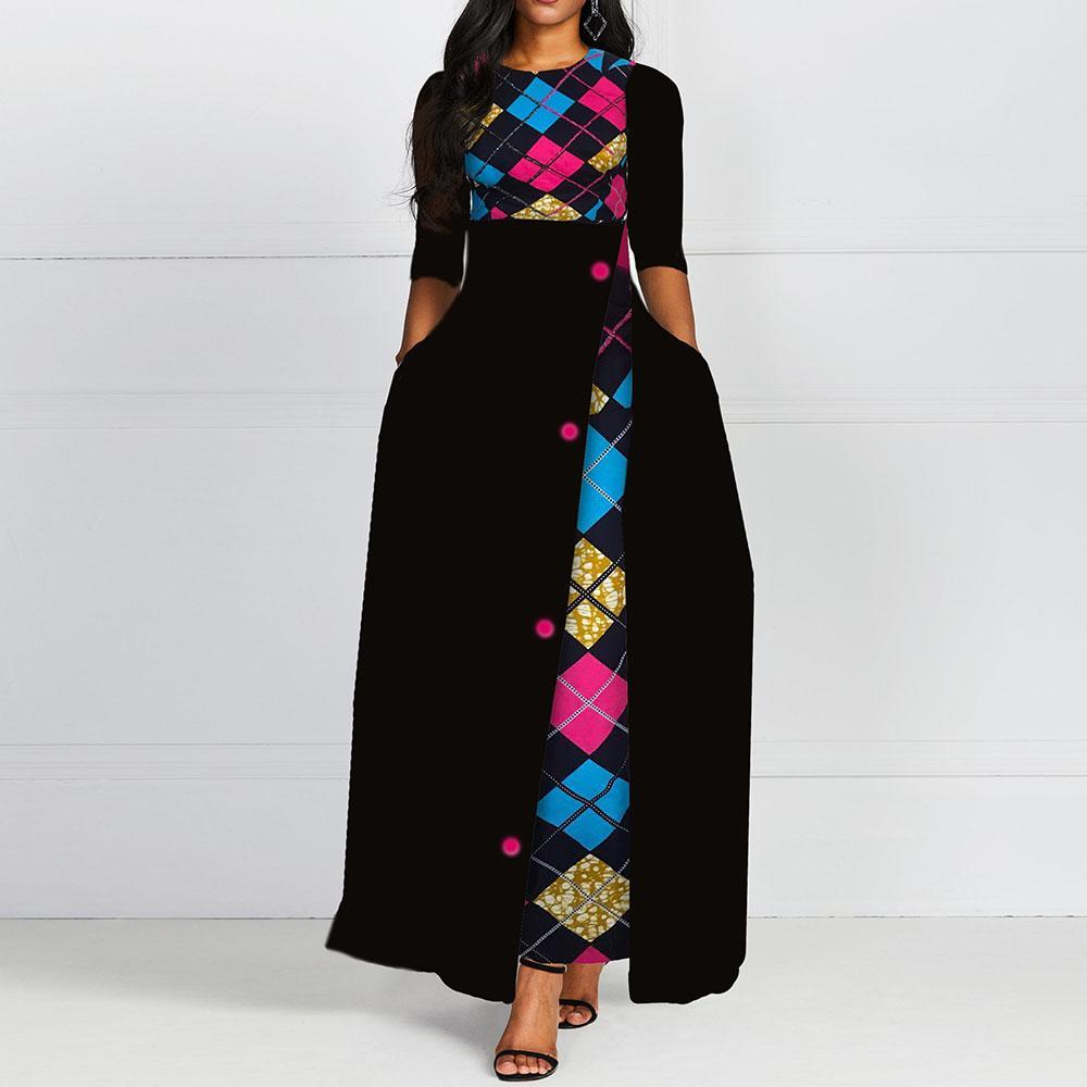 Autumn Winter Female Office Lady Office Dresses 2019 African Femme Vestiods Retro Robe Vintage A Line Women Maxi Dress