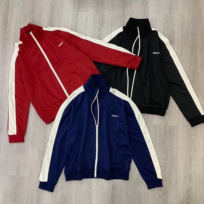 Siyah Mavi Kırmızı spor ceket 19SS basit moda Erkek Kadın yan çizgili Retro fermuar Nakış ceket