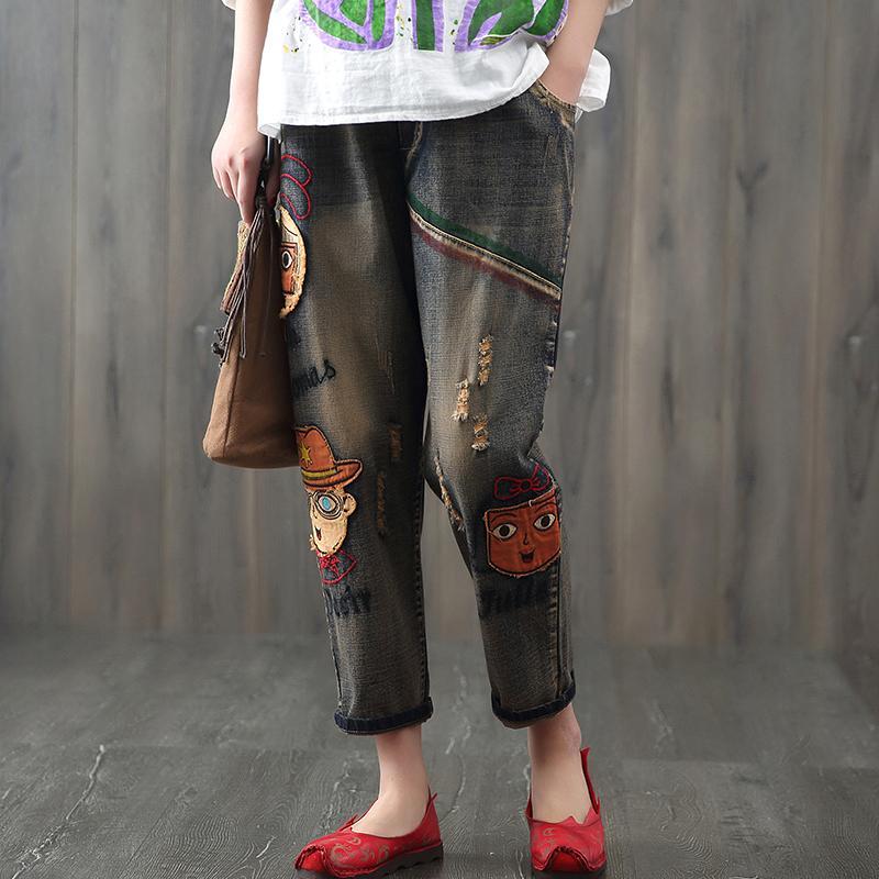 Buco di jeans ricamati patch retrò primavera estate femminile nuovo per fare i vecchi pantaloni jeans Vita elastica Pantaloni harem denim