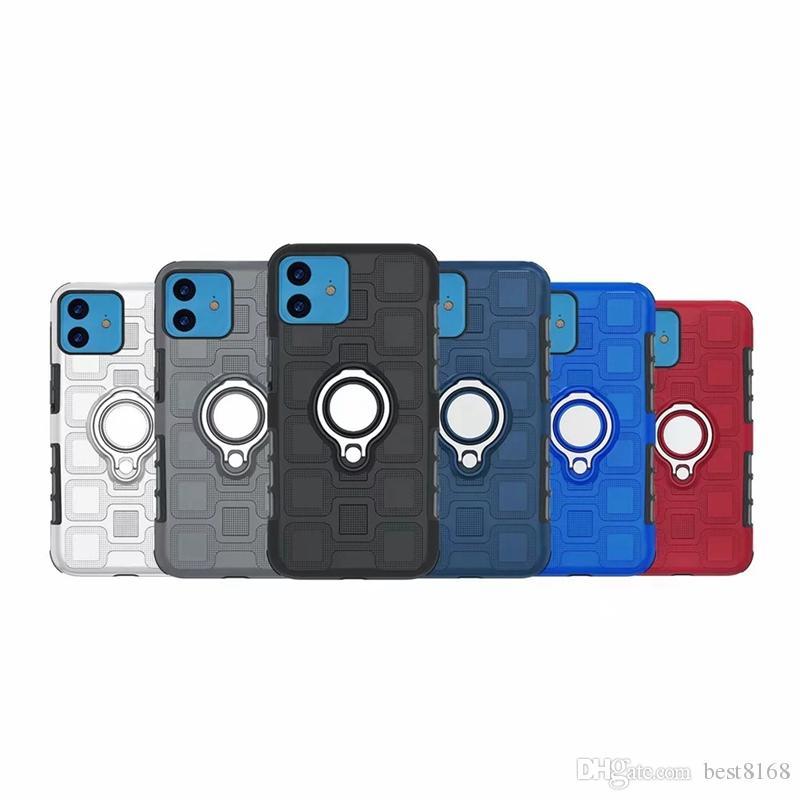Holder Piazza Defender + Car metallo anello di barretta per Iphone 12 2020 11 Pro Max XS MAX XR X 8 7 Armatura dura del PC + TPU coperture antiurto ibride