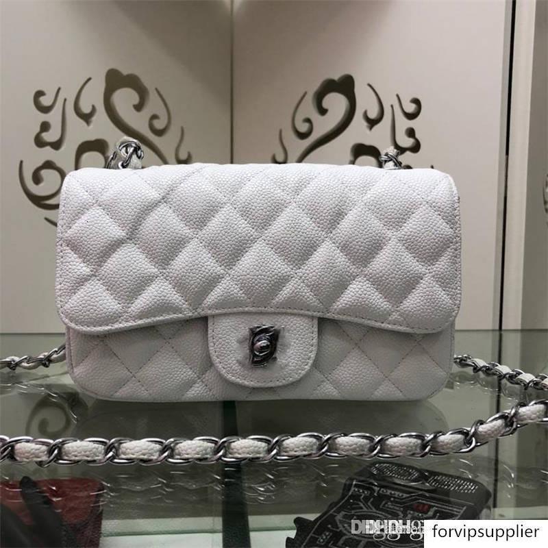 Blanco vintage acolchada de piel de cordero CCC de hebilla como cierre de la cadena del bolso de hombro 1116 Tamaño: 20 * 12 * 7cm