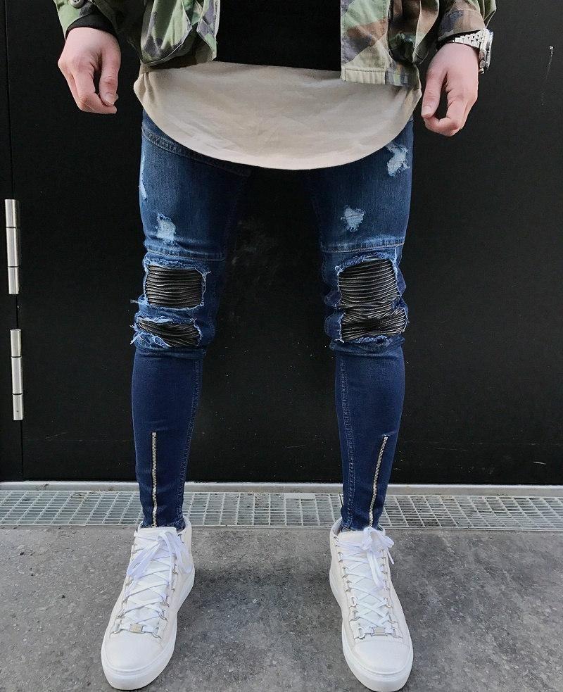 Nuovo Mens Skinny Jeans Moda Moto pantaloni di alta qualità pantaloni slim Biker matita Hip Hop Denim Pants