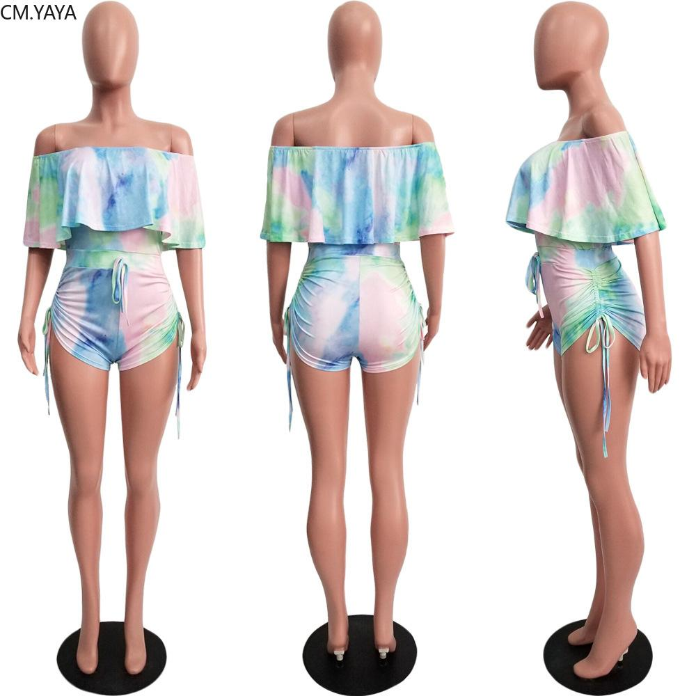 2019 women tie dye print off shoulder butterfly sleeve bodycon short jumpsuit sexy night club party romper playsuit GLYY5069