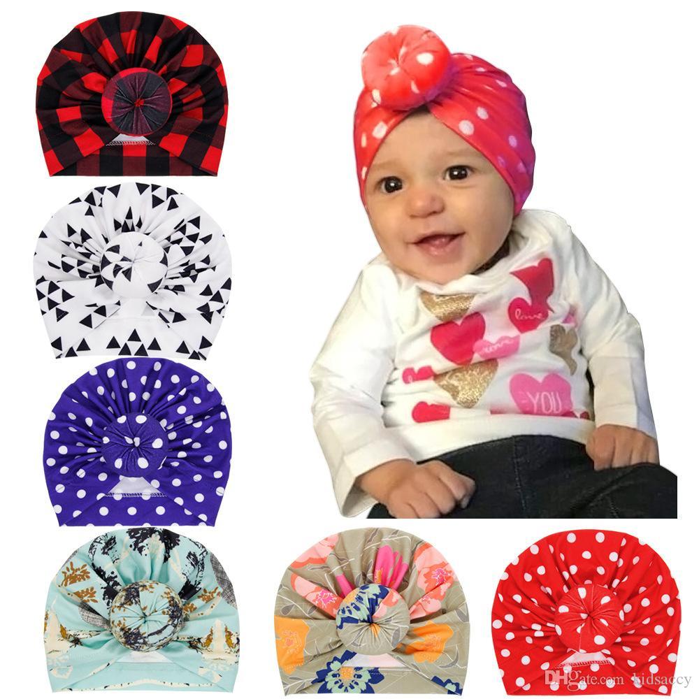 Европа Infant ребёнки Hat Узел Dots плед цветок головной убор для детей малышей Детские шапочки Тюрбан пончики Florals Шляпы 6 цветов A368