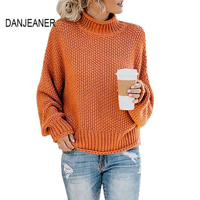 DANJEANER новый водолазка свитер женщины твердые повседневная трикотажные пуловеры мода 2019 женский теплый негабаритных свитера топы для женщин V191129