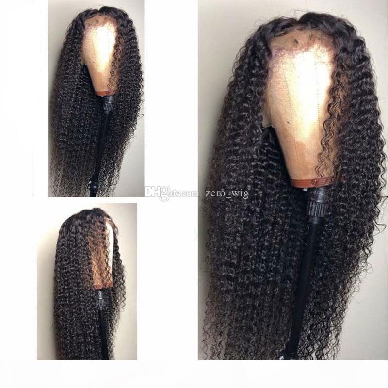 Kinky Curly brésilienne Human Hair 5 * 4.5 « » soie Base de perruque avant de dentelle perruque frisée Top en soie sans colle de dentelle perruque avec bébé cheveux