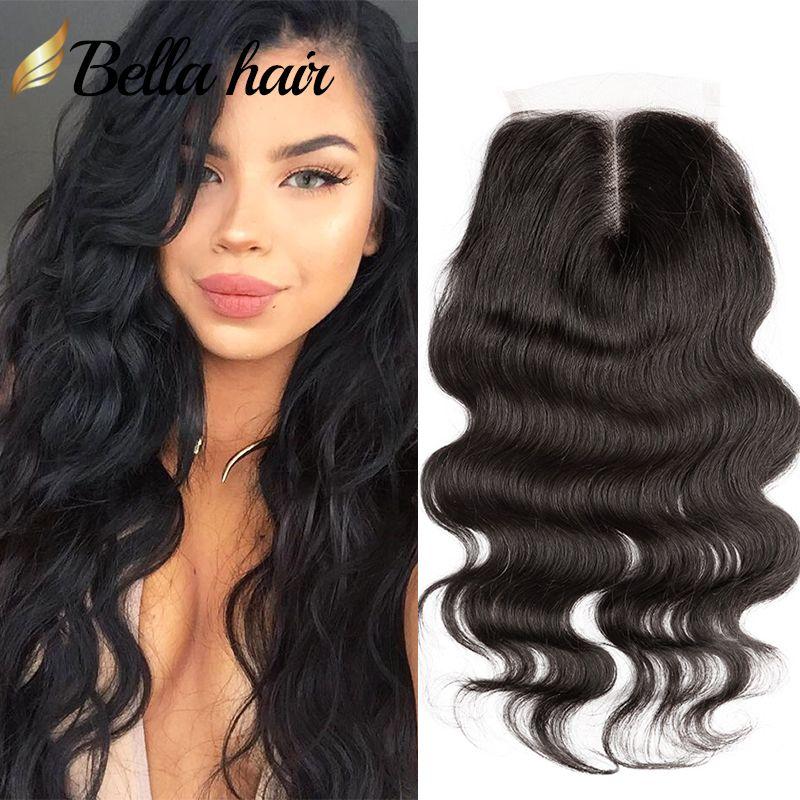 100% Peruwiański Ludzki Przedłużanie Włosów HD / Brązowy Top Zamknięcie Średniej części ciała Fala Przezroczysta Koronka Natural Color Bellahair