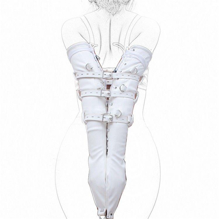 Latest Sofe Leather Adjustable Bound Bondage Lace Gloves Hand Tight Arm Imprison Taste Adult Erotic Bandage BDSM Product Sex Toy Black White