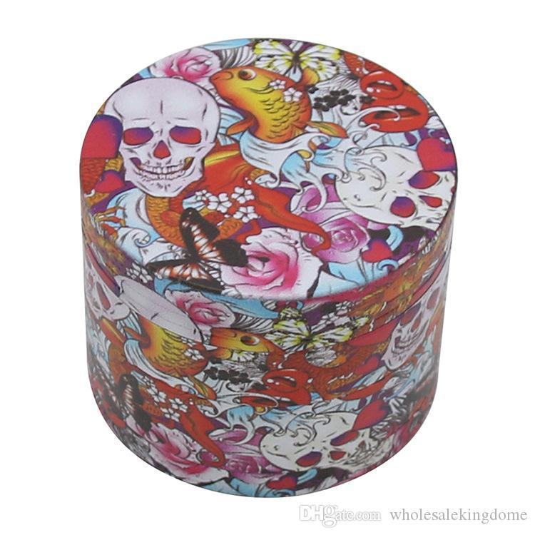Cigarette grinder Durchmesser 50 mm, 4 Schichten, Ganzkörper-Farbdruck, geisterKopfFarbenDruck, Zinklegierung grinder, Zigarettenrauchsatz mill