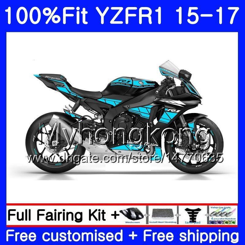 사출 광택 시안 색 BLK 바디 용 YAMAHA YZF-1000 YZFR1 2015 2016 2017 243HM.40 YZF R 1 1000 YZF-R1 YZF1000 YZF R1 15 16 17 페어링 키트