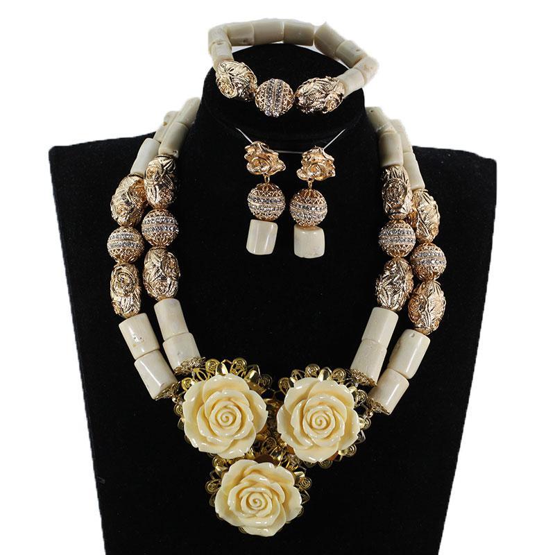 التصميم الحديث المرجان قلادة أقراط سوار مجموعة مجوهرات جميلة الزهور شكل قلادة مجموعة قلادة المرجان قلادة NCL727