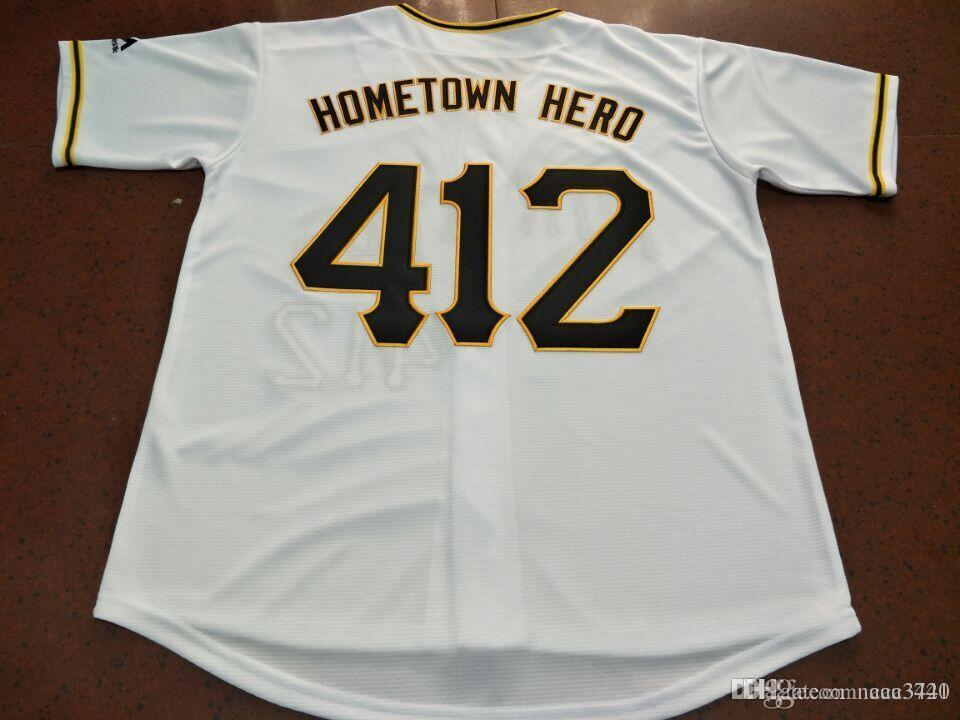rare Mens Pittsburgh Hometown hero #412 Baseball Jersey Size S-4XL or custom any name or number Stitched baseball jersey