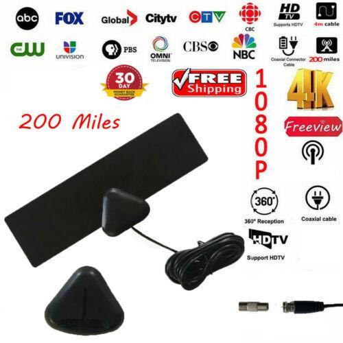 4K Digital Antenna TV HD 200 Miles Range Amplified Signal Booster 1080P Indoor