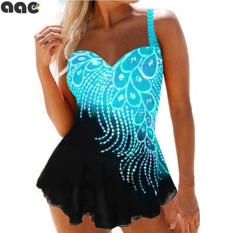 Plus Size Women's Bikini Suit Swimwear High Waist Push Up Print Beachwear Casual Sexy Swimming Beach Dress Two Piece Coverup T200417