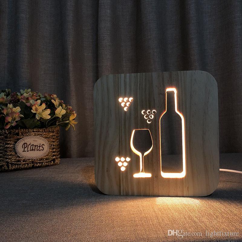 Ahşap Şarap Şişesi Gece Işıkları LED Masa Lambası Oyulmuş Ahşap Masa Lambası Yatak Odası Başucu Işık Hediye 3D Gece Lambası