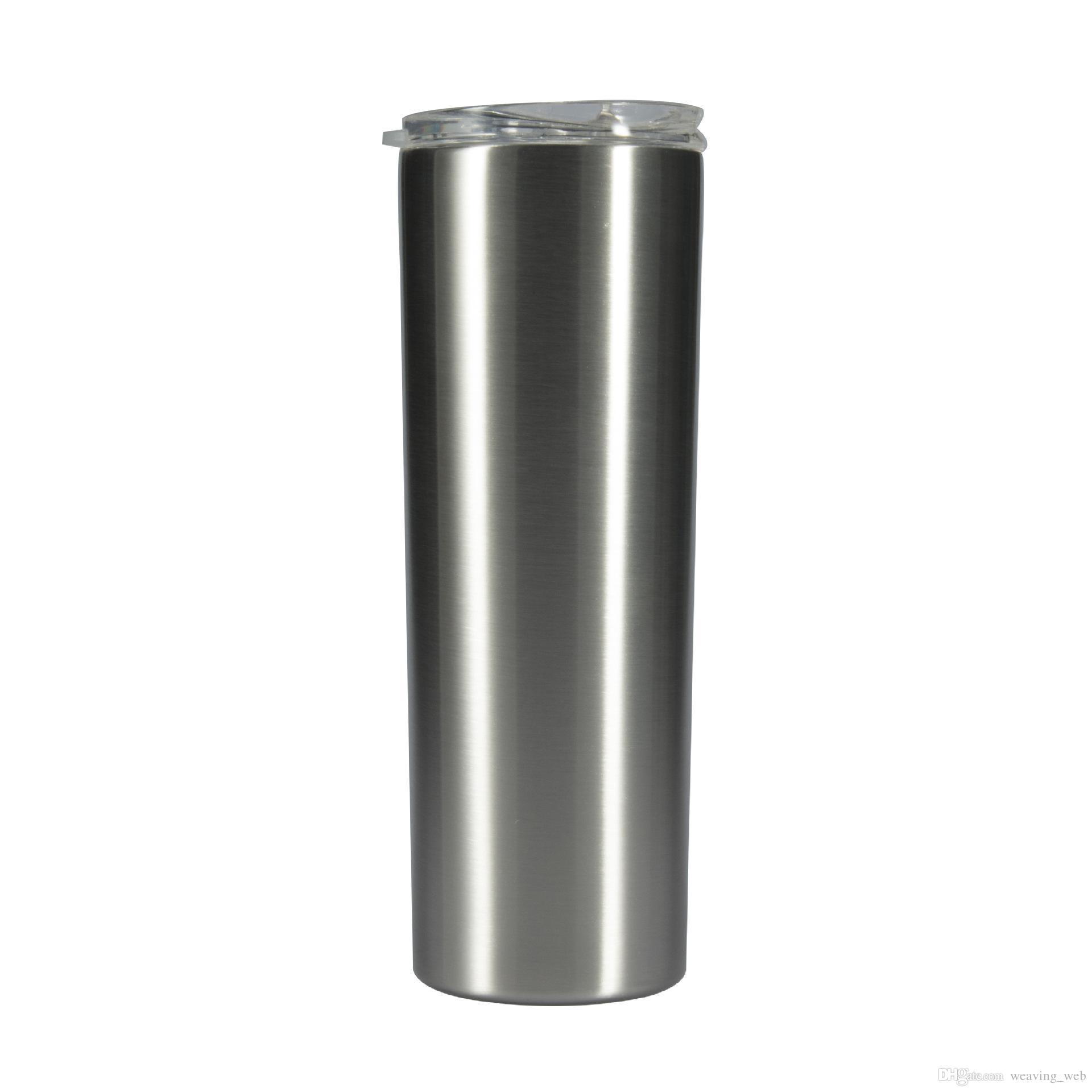 15 ons skinny drinkware kapaklı 304 paslanmaz çelik çift duvarlar vakum bardak ücretsiz kargo su kavanoz