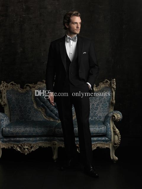 Nueva llegada Trajes padrinos de boda muesca solapa esmoquin novio Negro hombres Wedding / baile mejor hombre Blazer (Jacket + Vest + Pants + tie) O445