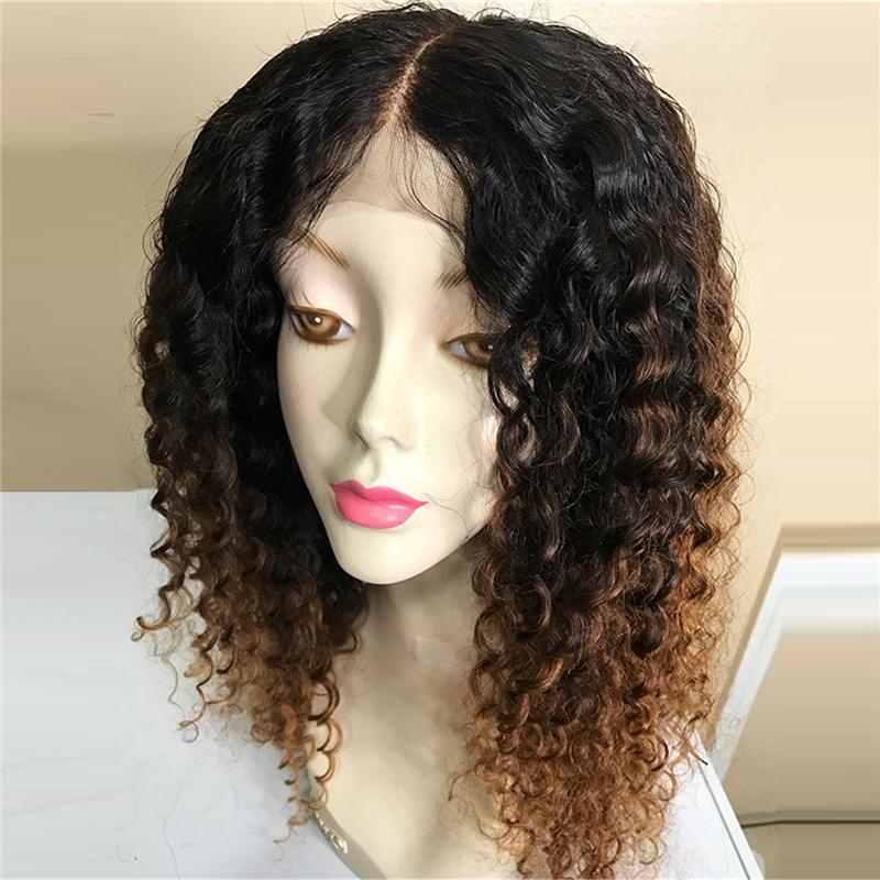 Ombre colori 13x6 parrucca anteriore del merletto Remy brasiliano parrucca riccia PrePlucked 150% 180% Densità merletto pieno umani Parrucche Con capelli del bambino