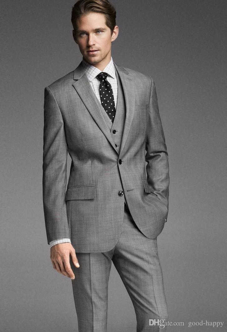 Nagelneu Grau Bräutigam Smoking Kerbe Revers Groomsman Hochzeit 3-teiliger Anzug Beliebte Männer Business Jacke Blazer (Jacke + Pants + Tie + Vest) 2654