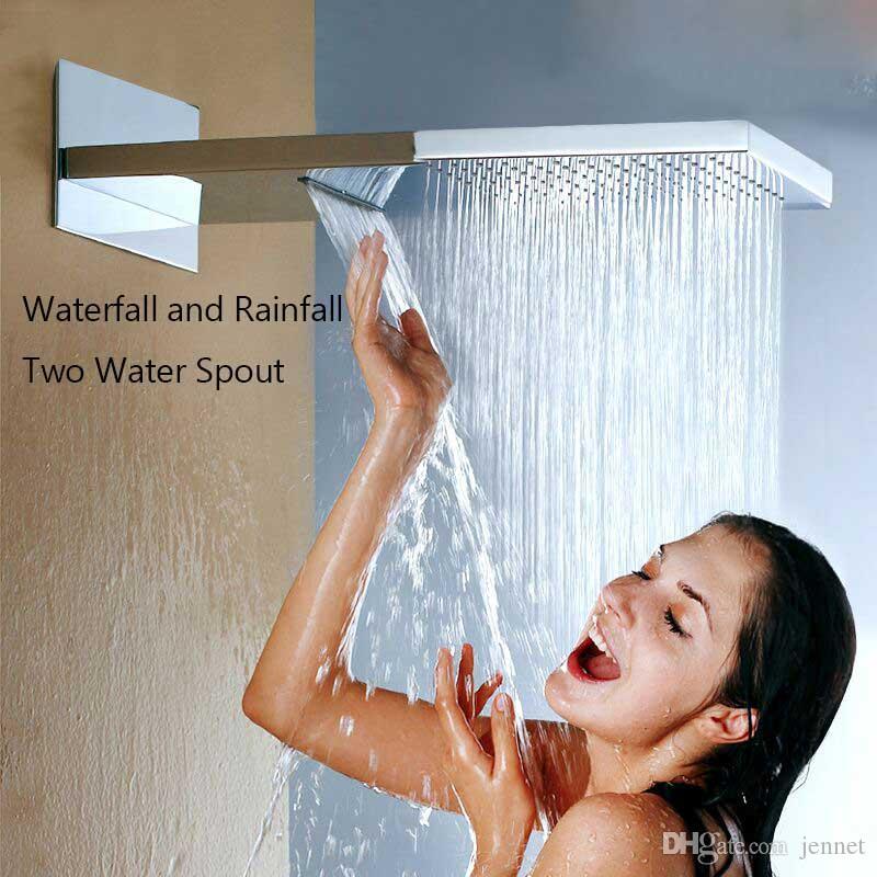 Bad Dusche Mixer Kits Digitalanzeige Wand Regen Wasserfall Duschkopf Chrom Duscharmatur mit Handbrause