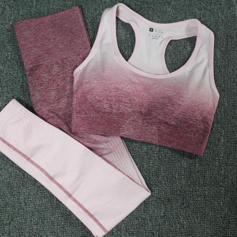2ST Yoga Set Sport-BH Ombre nahtlose Gamaschen Workout Sport Anzug Gym Kleidung Frauen Fitness Sportswear Active Wear Tights