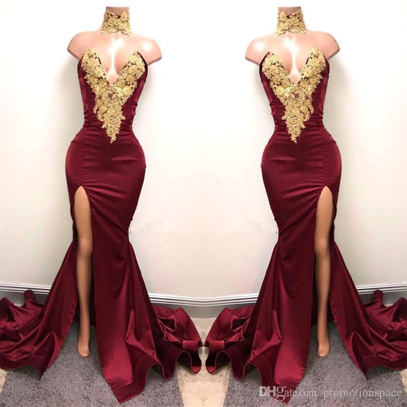 Borgogna sirena Prom Dresses 2019 Gold Lace Appliqued Sexy Black Girls Split Party Abiti da sera Abiti da sera Abiti BA5998