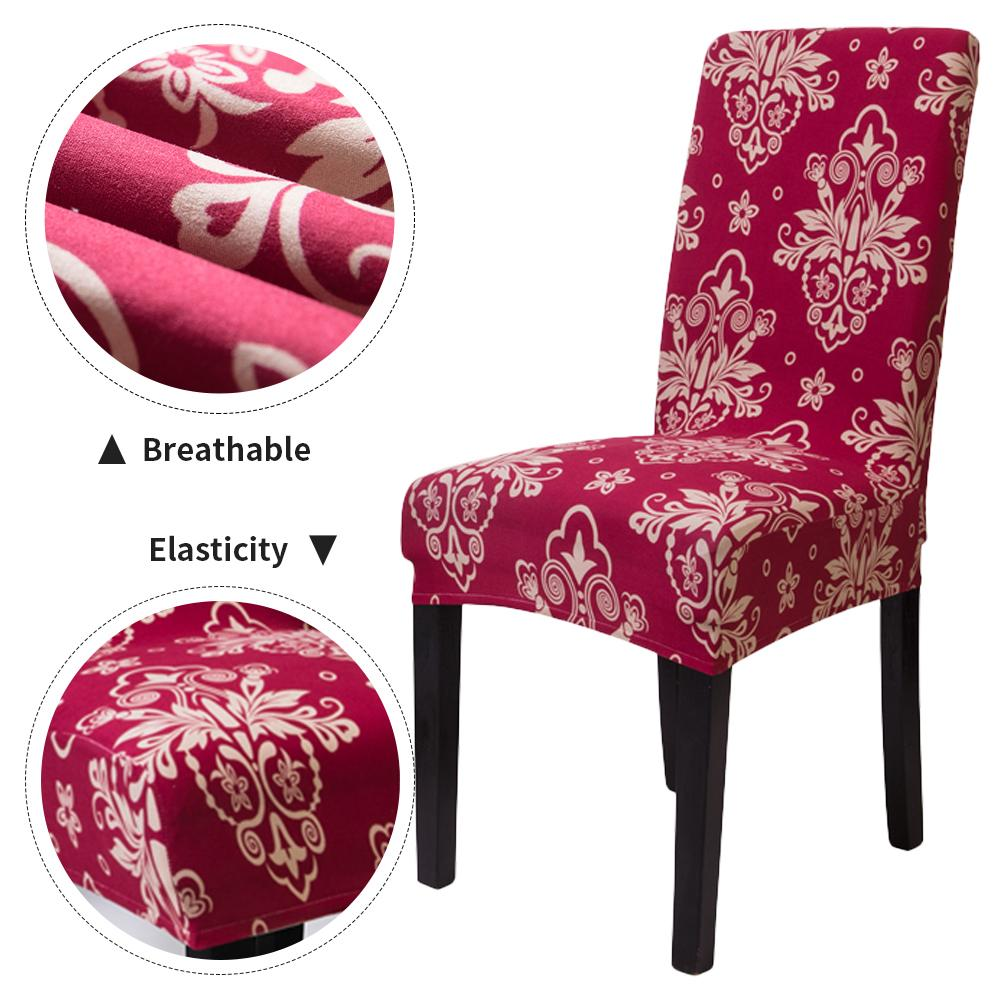 1Pc Printed Elastic Dining Chair Cover Stretch Removable Dining Chair Cover Seat Protector Slipcover for Hotel Dining Room