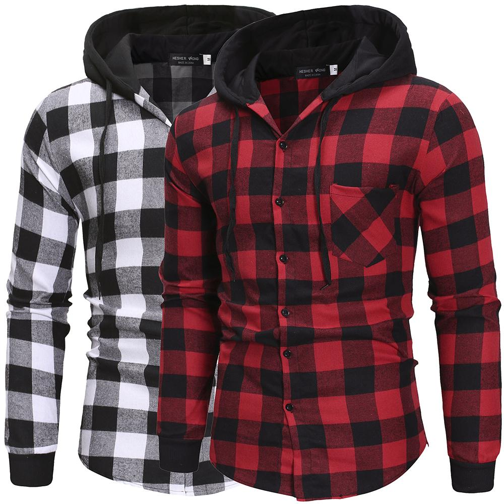 Men's Shirts Autumn Fashion Casual Plaid Shirts Long Sleeve Cotton high quality Pullover Hooded Shirt Winter Mens Top Blouse MX200518