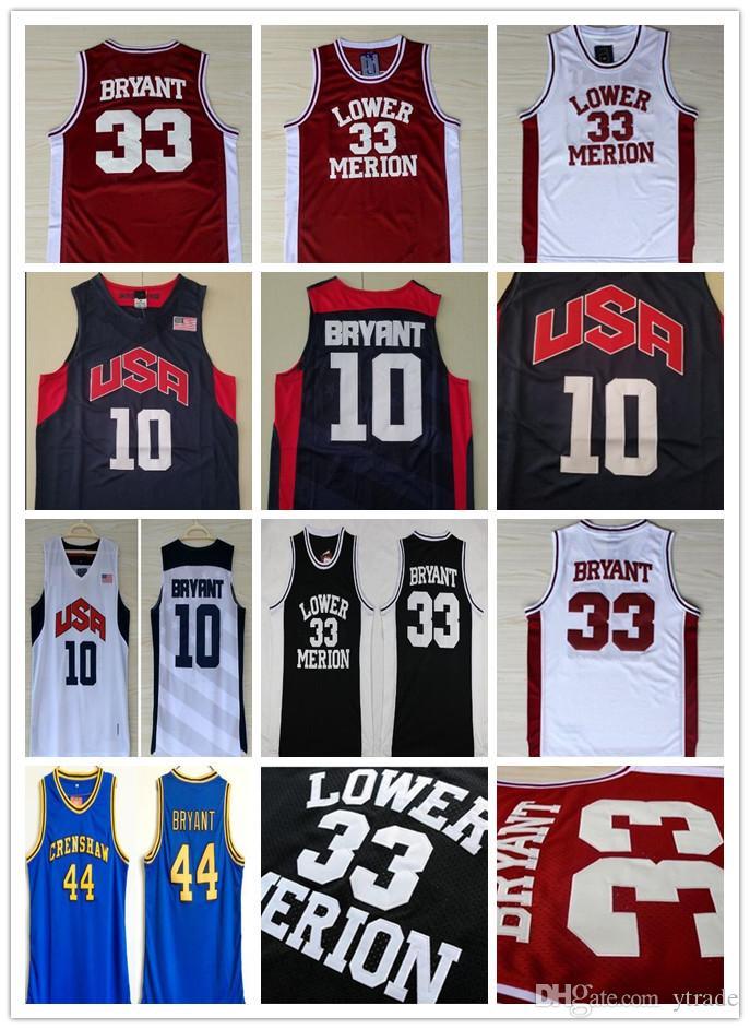 Los hombres de la NCAA 2012 Equipo de EE.UU. Lower Merion 33 Bryant Jersey Instituto de Bachillerato Baloncesto Hightower Crenshaw Sueño Rojo Blanco Azul Negro bordado