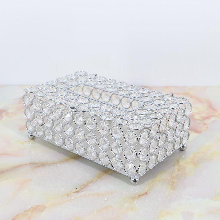 European crystal tissue box simple home living room coffee table drawers desktop napkin storage box creative car Living Room T200115