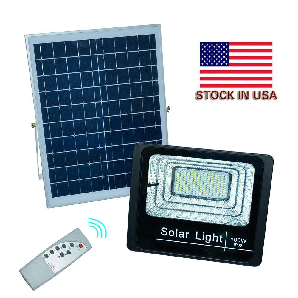 야외 태양 광 홍수 조명 100W 50W 30W 70-85LM 램프 방수 IP65 조명 투광 조명 배터리 패널 전원 원격 Contorller 미국