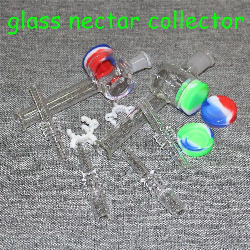 Neue Glas Nektar Sammler mit 10mm 14mm Quarz Spitzen keck Clip 5ml Silikonbehälter reclaimer nector Sammler Kit dab Bohrinseln