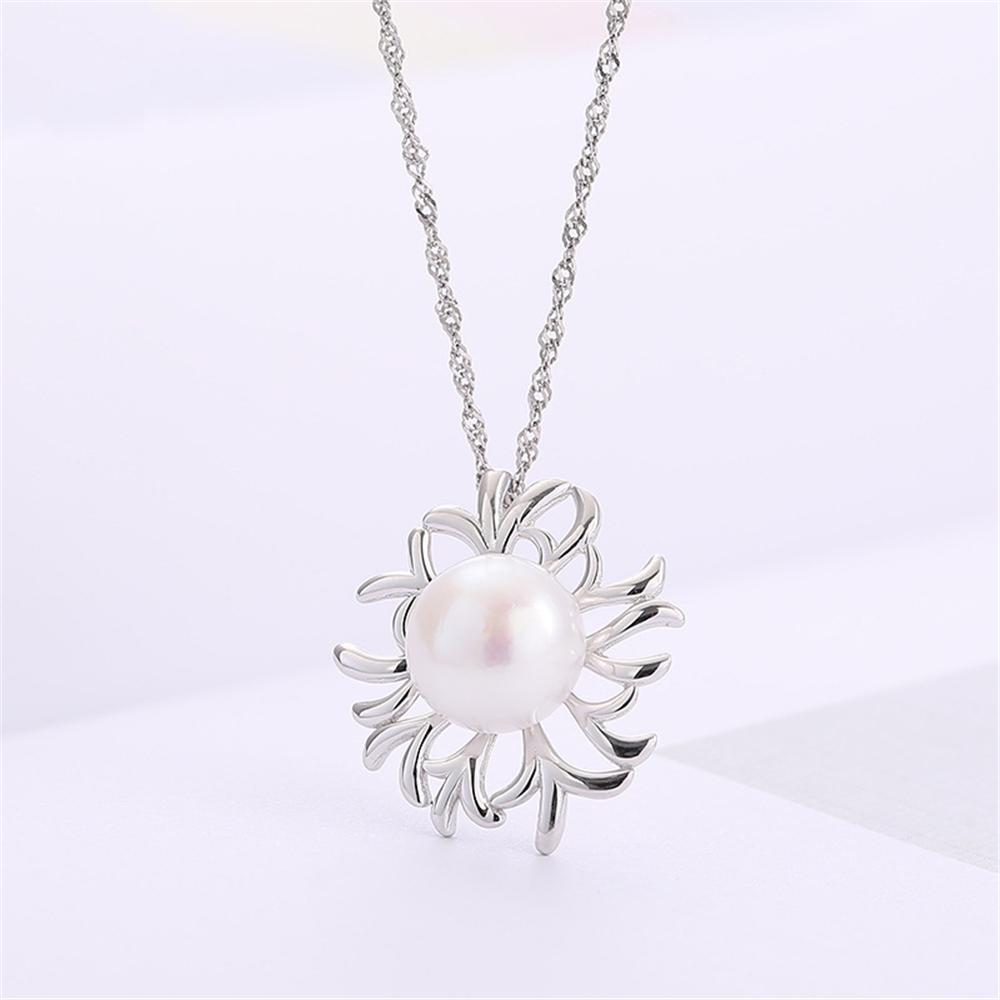 Yeni Varış S925 100% Katı Gümüş Inci Kolye Kolye Ayarları Montaj Yarı Dağı kadın DIY Takı Bulma Hediye DZ077