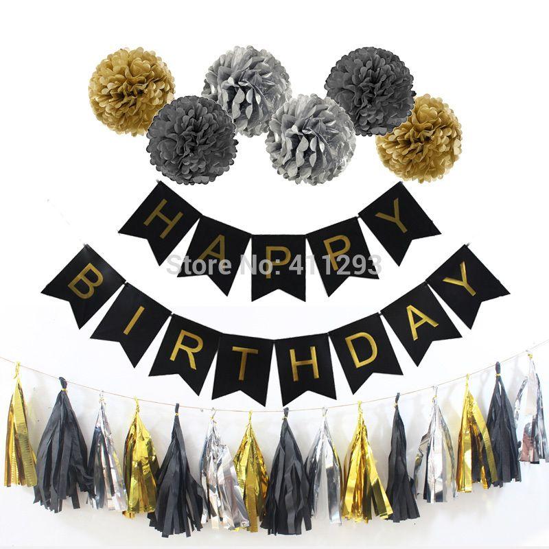or bannières noires de fête d'anniversaire tissu pompon papier pompons 16 18 20 30 40 50 60 70 80 adultes anniversaire décorations de fête or SH190920