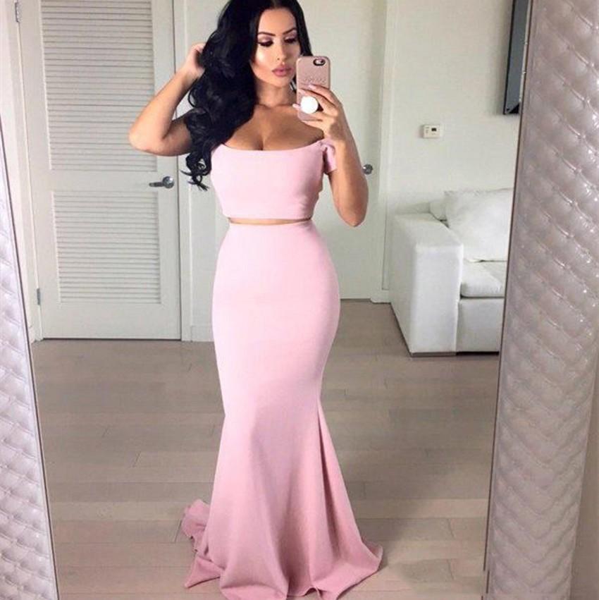 Розовый Русалка Пром платья с коротким рукавом атласные Формальные Пром платья Robe De Bal партии Вечерние платья