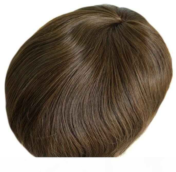 4 # Замена цвета Mens Toupee полный шнурок Toupee человеческих волос для мужчин Необработанные Богородица китайский человеческих волос Pieces Бесплатная доставка!