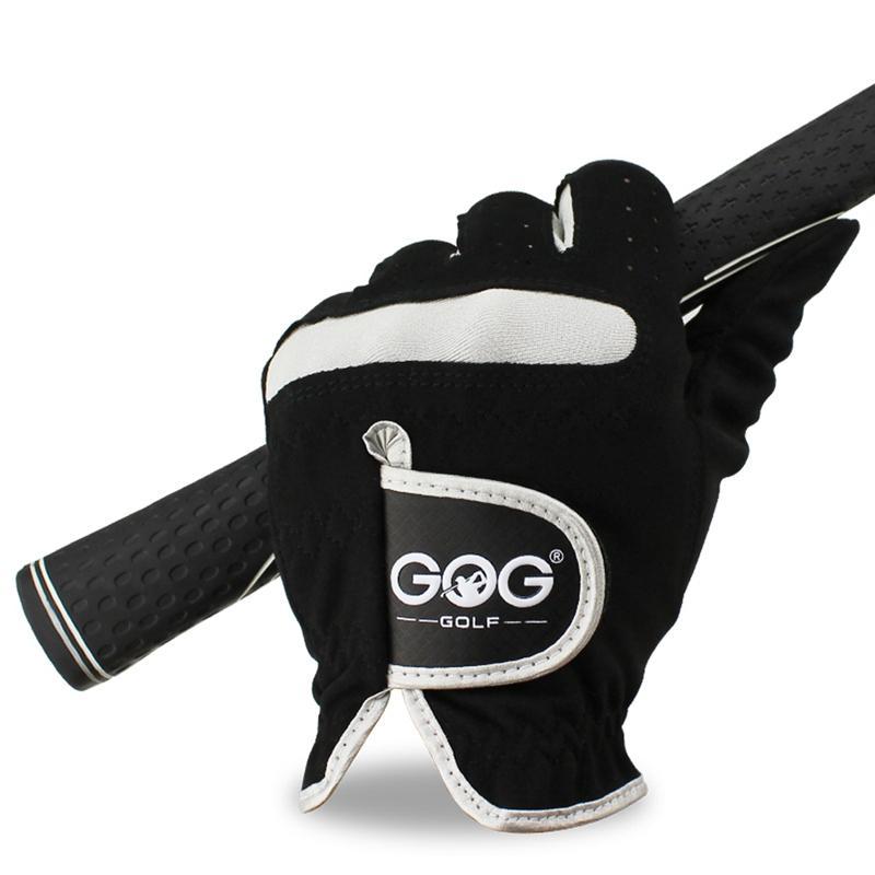 1 PCS uomo Micro Guanto da golf Mano sinistra Mano destra morbida fibra traspirante golf guanti da uomo di colore nero di marca GOG