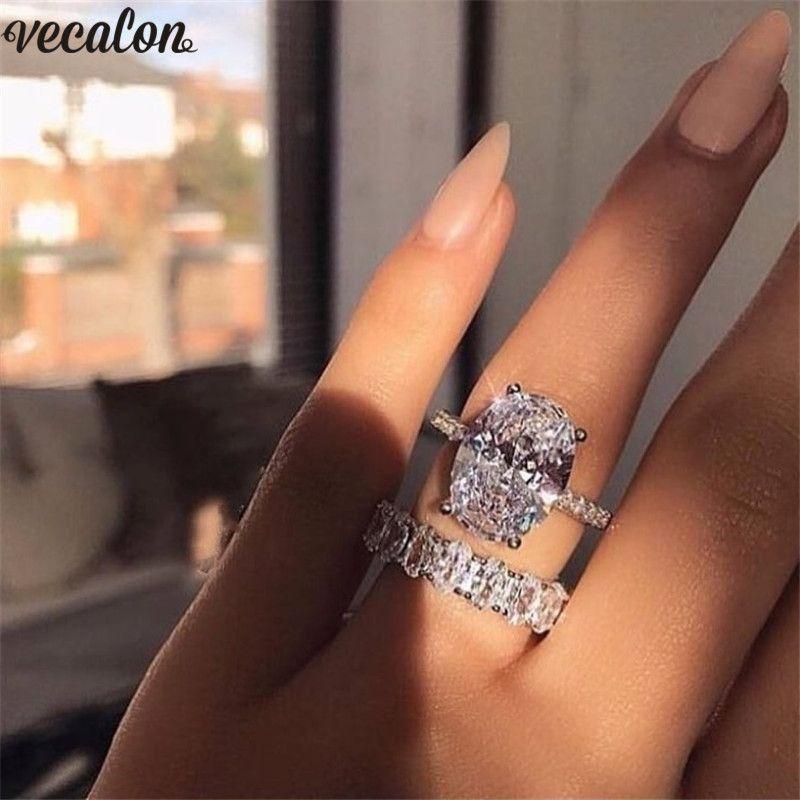 Vecalon Классический 925 Серебряное кольцо набор овальный вырезать 3ct свадьбы Алмазный Cz обручальное Ленточные кольца для женщин Свадебные Bijoux
