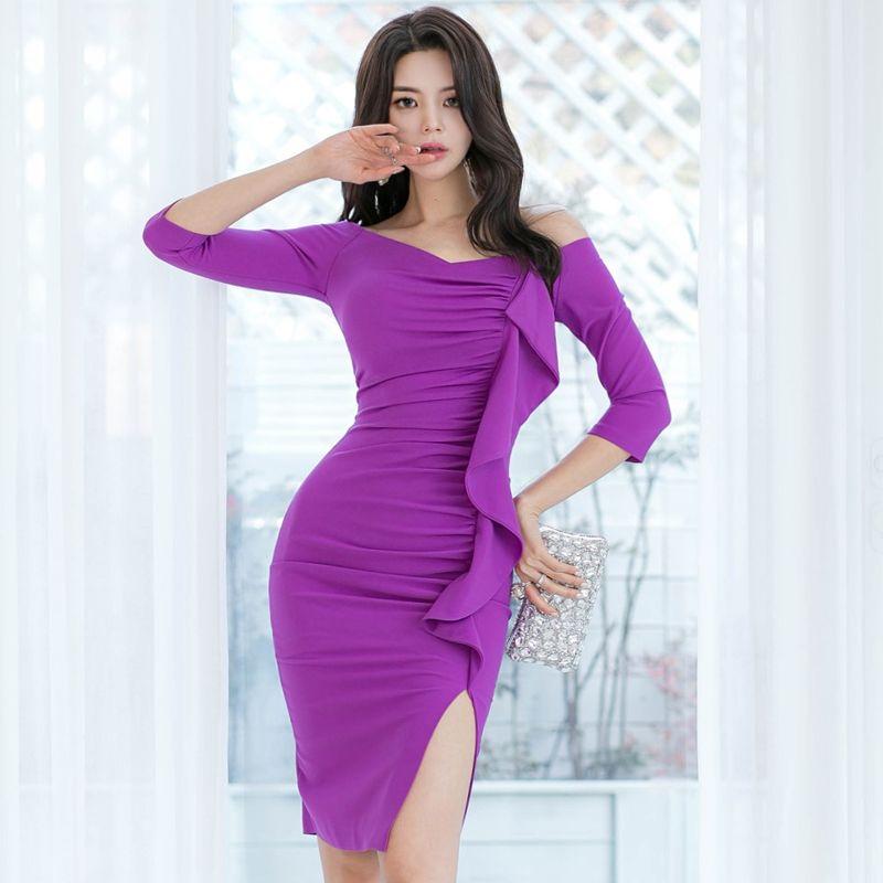 Kore Bahar Sonbahar Elbise Yeni Kapalı Omuz Kelime Yaka 3/4 Kollu Seksi Elbise Kadın Giyim