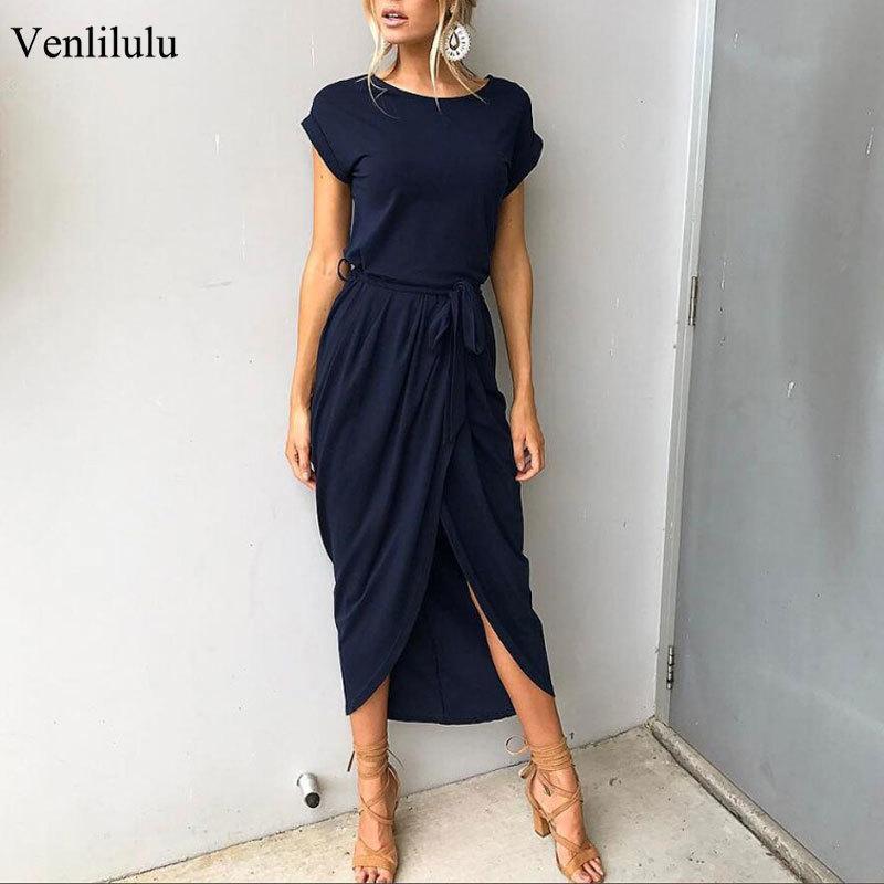 2020 Длинные Бальные платья плюс размер лета с коротким рукавом платья женщин Elegant Maxi Сыпучие Vestidos Повседневный Сарафаны Женский XXL XXXL T200604